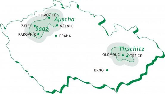チェコホップ栽培地域