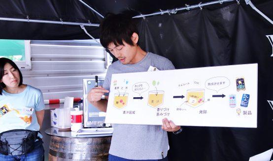 まずは原料の説明やどうやってビールが造られるのかを丁寧にレクチャーしてくれる。 今回、説明してくれたのはハラケンだ(左は元気いっぱいのテラシーナ)。