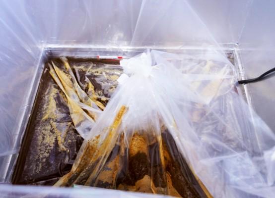 地元企業との協力で生み出された特注のビニール袋。これを使用することで、コストの削減が図れる