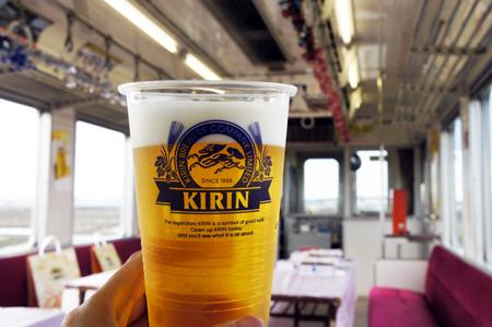 関鉄ビール列車 乾杯