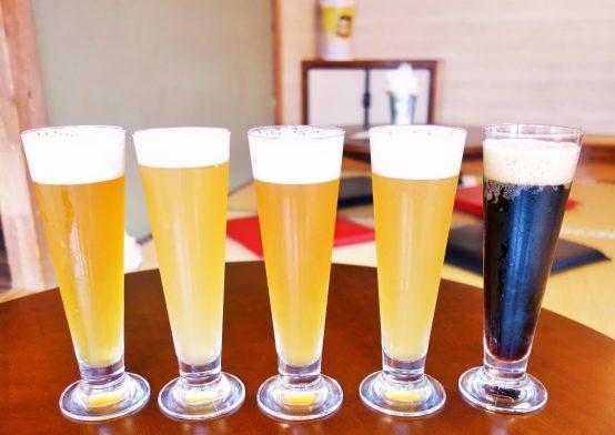左からIPA、ヴァイツェン、ペールエール、インディアン・サマー・セゾン、ポーター ※ビールのラインナップは取材時のものです