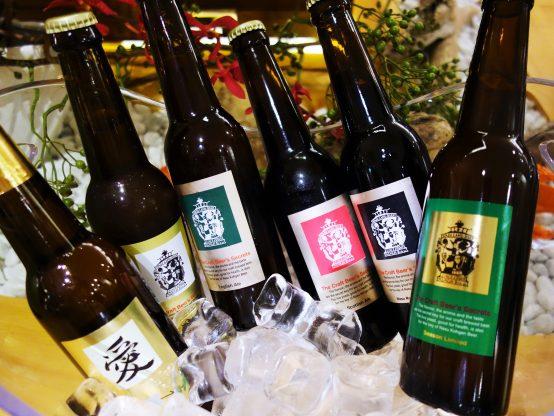那須高原ビール定番4種類と季節限定1種類に加え、ワールドビアカップで金賞を受賞したナインテイルドフォックスを堪能できる贅沢なものだった