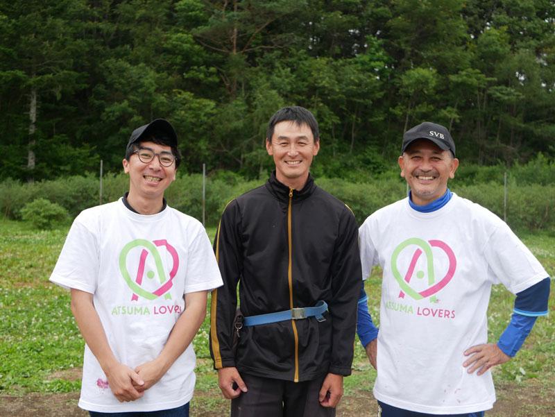 左から、SVB東京ヘッドブリュワー古川さん、土居ハスカップ農園土居さん、SVBマスターブリュワー田山さん