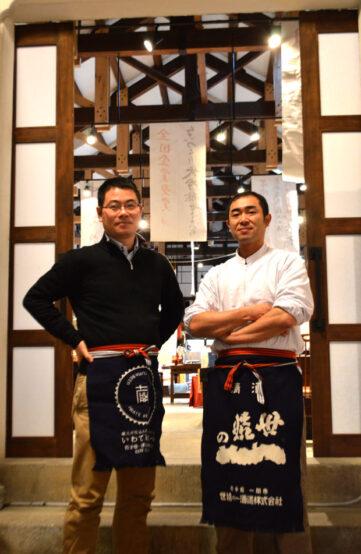 いわて蔵ビールの佐藤さん(左)醸造長の後藤考紀さん(右)