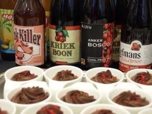 「リーフマン」などのフルーツビールとイチゴのクレーム・ド・ショコラ